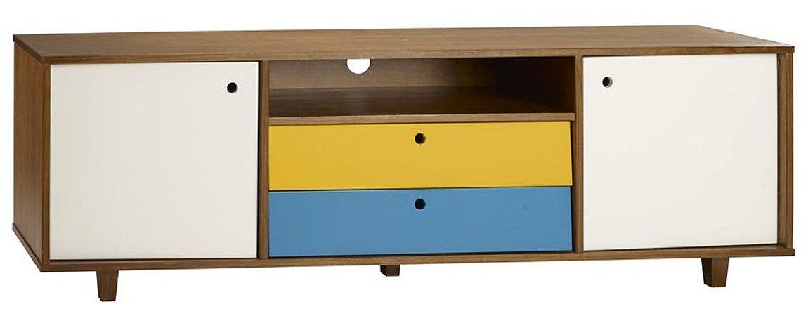 Rack Vintage com Portas em Branco e Gavetas na Cor Azul com Amarelo