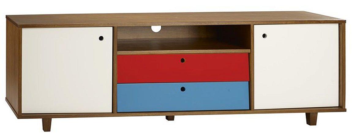 Rack Vintage com Portas em Branco e Gavetas na Cor Azul com Vermelho
