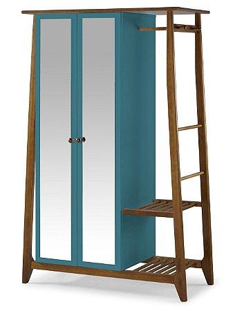 Roupeiro Multiuso Stoka com 2 Portas na Cor Azul Turqueza