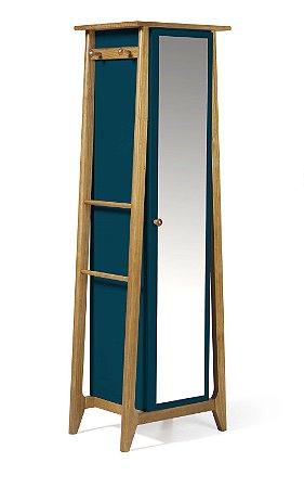Sapateira ou Armário Multiuso Stoka em Madeira Maciça e Mdf na Cor Azul Marinho