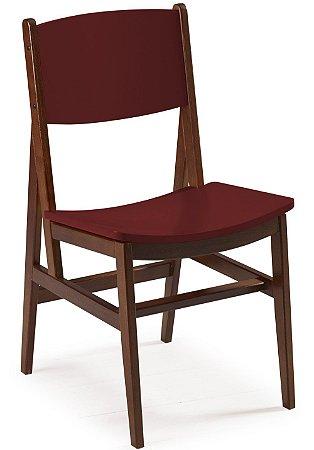 Cadeira Dumont com Acento e Encosto na Cor Vinho
