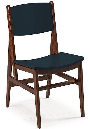 Cadeira Dumont com Acento e Encosto na Cor Azul Marinho