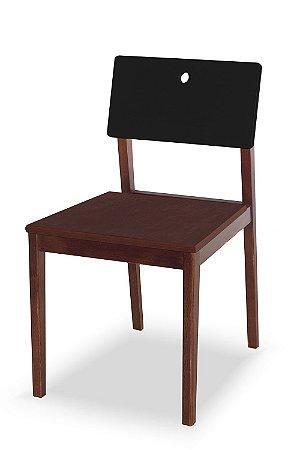 Cadeira Flip com Acento Marrom e Encosto na Cor Preta