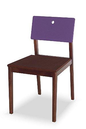 Cadeira Flip com Acento Marrom e Encosto na Cor Roxo