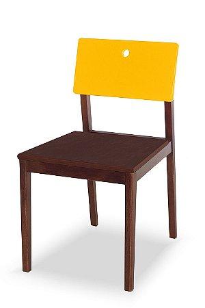 Cadeira Flip com Acento Marrom e Encosto na Cor Amarelo