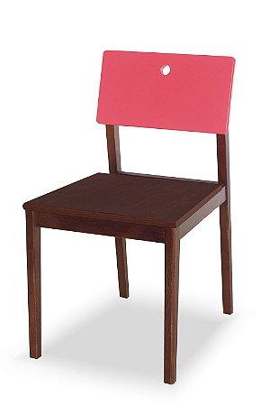 Cadeira Flip com Acento Marrom e Encosto na Cor Pink