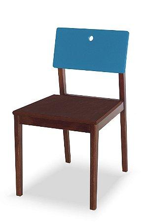 Cadeira Flip com Acento Marrom e Encosto na Cor Azul Turqueza
