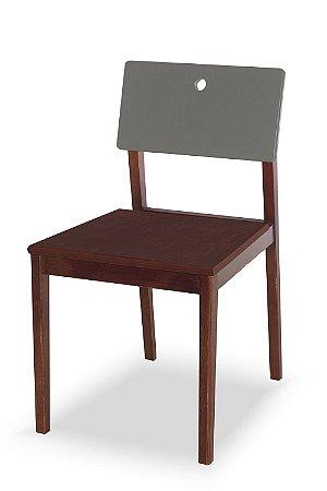Cadeira Flip com Acento Marrom e Encosto na Cor Cinza