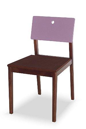 Cadeira Flip com Acento Marrom e Encosto na Cor Lilás