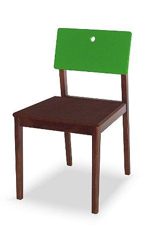 Cadeira Flip com Acento Marrom e Encosto na Cor Verde Limão