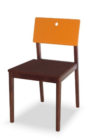 Cadeira Flip com Acento Marrom e Encosto na Cor Laranja