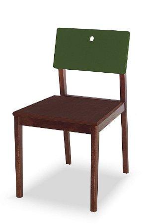 Cadeira Flip com Acento Marrom e Encosto na Cor Verde Oliva