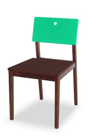 Cadeira Flip com Acento Marrom e Encosto na Cor Verde