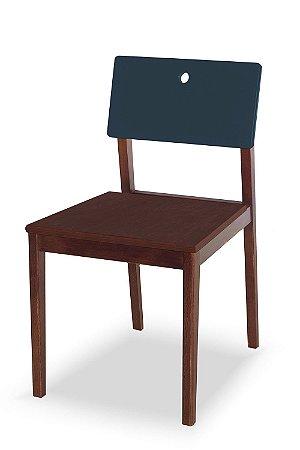 Cadeira Flip com Acento Marrom e Encosto na Cor Azul Marinho