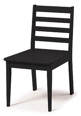 Cadeira Imperial com Encosto Ripado e Acento na Cor Preta