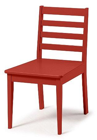 Cadeira Imperial com Encosto Ripado e Acento na Cor Vermelho