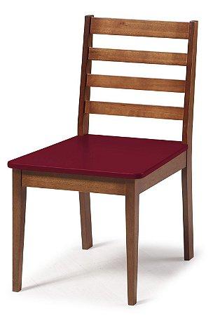 Cadeira Imperial com Encosto Ripado Marrom  e Acento na Cor Vinho