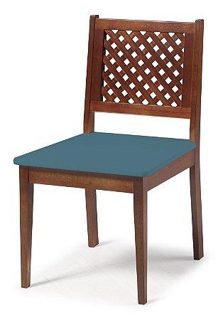 Cadeira Imperial com Encosto em Treliça e Acento na Cor Azul Turqueza