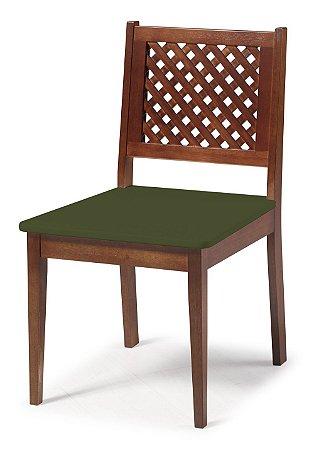 Cadeira Imperial com Encosto em Treliça e Acento na Cor Verde Oliva