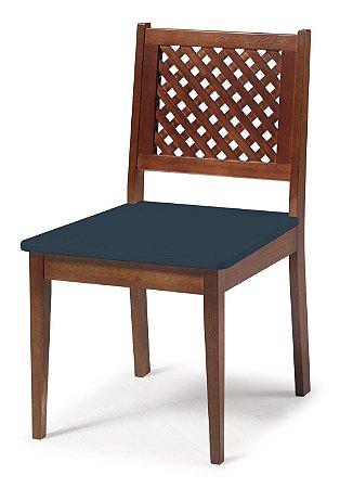 Cadeira Imperial com Encosto em Treliça e Acento na Cor Azul Marinho