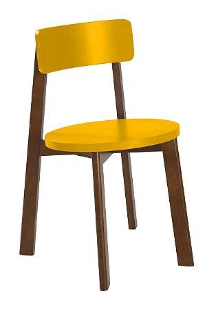Cadeira Lina com Acento e Encosto na Cor Amarelo