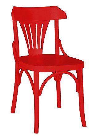 Cadeira Opzione em Madeira Maciça na Cor Vermelha