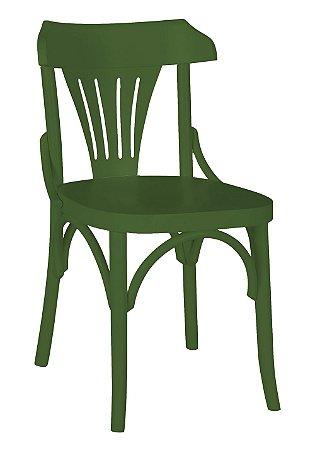 Cadeira Opzione em Madeira Maciça na Cor Verde Oliva