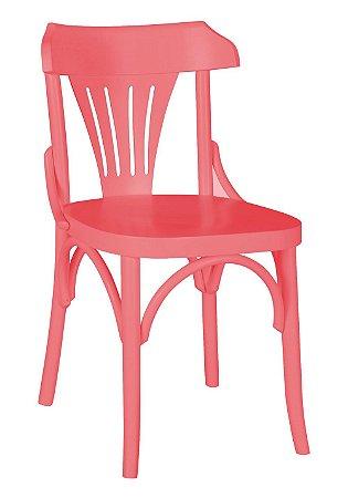 Cadeira Opzione em Madeira Maciça na Cor Rosa New