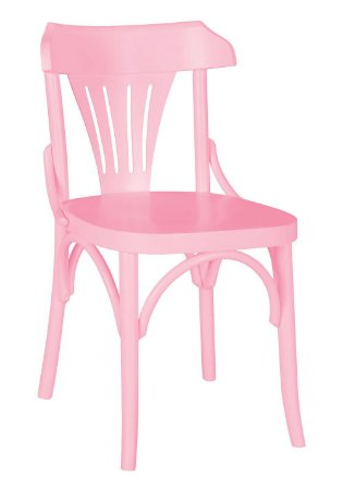 Cadeira Opzione em Madeira Maciça na Cor Rosa Cristal