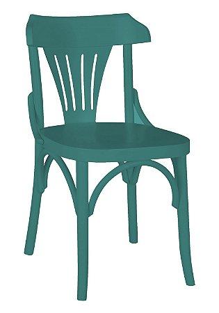 Cadeira Opzione em Madeira Maciça na Cor Azul Claro