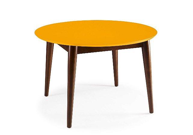 Mesa de Jantar Devon com 120cm, Pés de madeira Maciça e Tampo em MDF na Cor Amarela