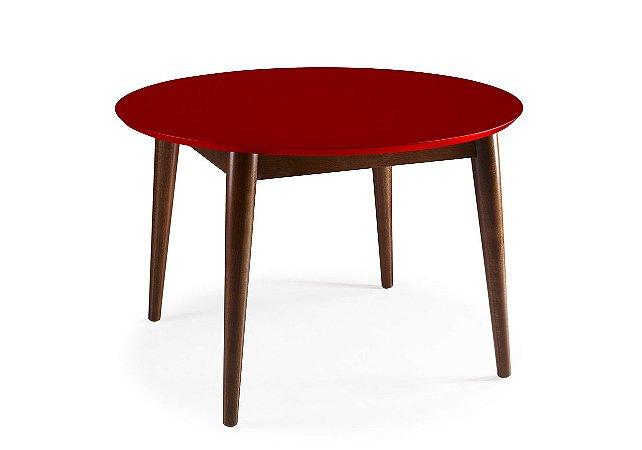 Mesa de Jantar Devon com 120cm, Pés de madeira Maciça e Tampo em MDF na Cor Vermelha