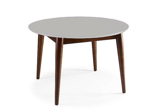 Mesa de Jantar Devon com 120cm, Pés de madeira Maciça e Tampo em MDF na Cor Branca