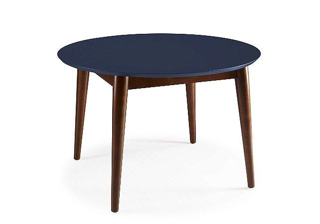 Mesa de Jantar Devon com 120cm, Pés de madeira Maciça e Tampo em MDF na Cor Azul Marinho