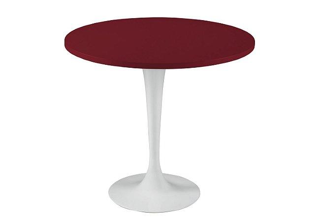 Mesa de Jantar Jupp - Pé Branco e Tampo na Cor Vinho