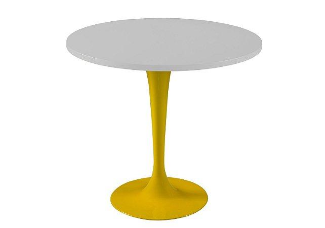 Mesa de Jantar Jupp - Pé Amarelo e Tampo na Cor Branco