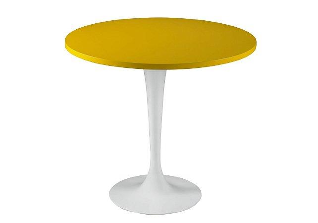 Mesa de Jantar Jupp - Pé Branco e Tampo na Cor Amarelo
