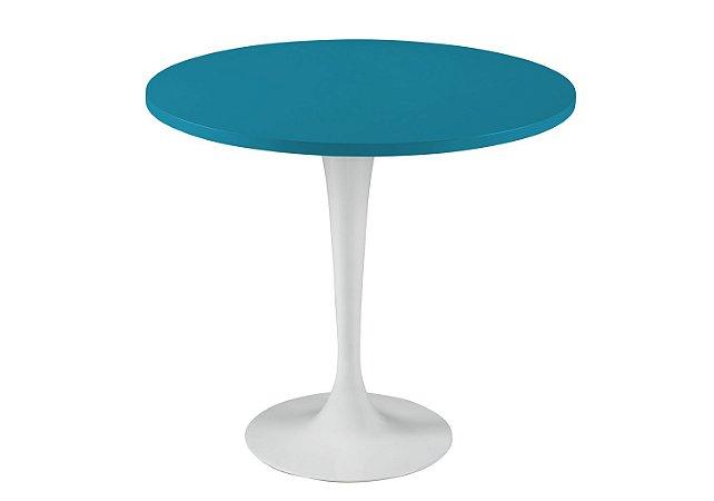 Mesa de Jantar Jupp - Pé Branco e Tampo na Cor Azul Turqueza