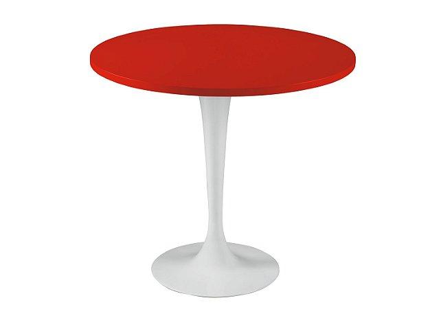 Mesa de Jantar Jupp - Pé Branco  e Tampo na Cor Vermelho