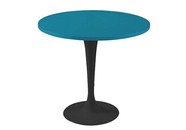 Mesa de Jantar Jupp - Pé Preto  e Tampo na Cor Azul Turqueza