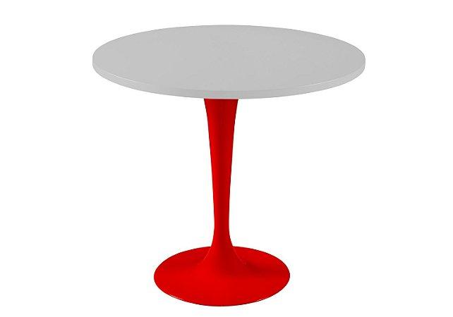 Mesa de Jantar Jupp - Pé Vermelho  e Tampo na Cor Branco