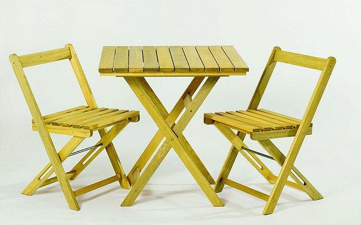 Kit Mesa Boteco no Tamanho 70 X 70cm Dobrável com 2 Cadeiras