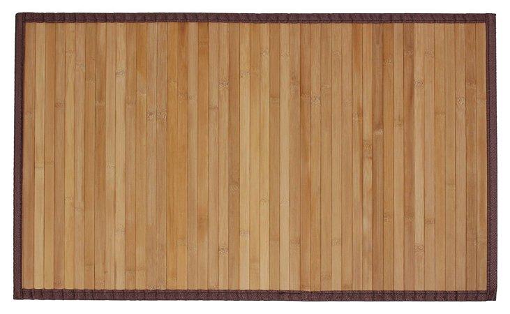 Tapete de Bambu com Borda de Tecido no Tamanho 60cm X 120cm na Cor Carbonizado