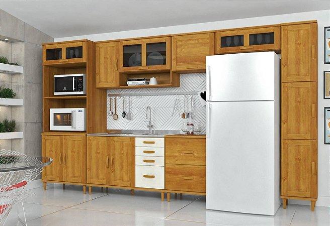 Cozinha Compacta Jade - Madeira Maciça - 8 Módulos - Nogueira