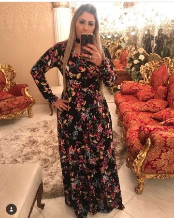 Vestido de Crepe Florido