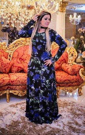 Vestido Dark Florido azul