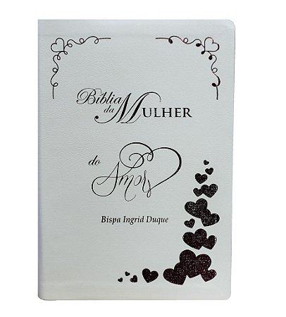 Bíblia Da Mulher Do Amor - Branca com Detalhes em Rosa