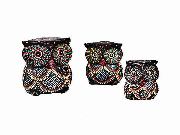 Trio Corujas Aborígenes Pintas - 10cm/8cm/7cm