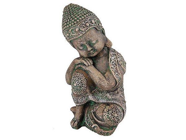Buda Bebê pensador verde - Pedra 28cm