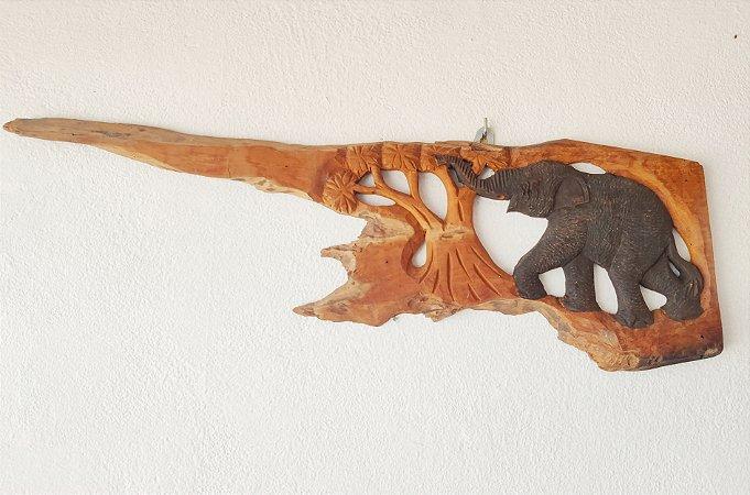 Painel Elefante  Madeira teca - 60cm
